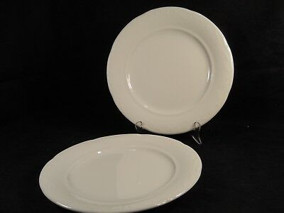 "Villeroy & Boch ""Sirius"" White Embossed 10"" Dinner Plates -set of 2"