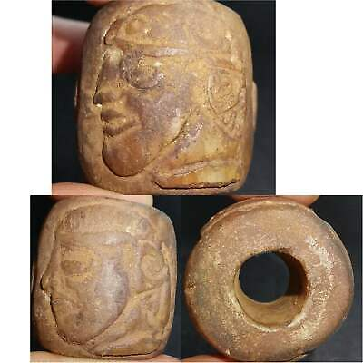 Very Old Unique Roman Big Stone Bead With 2 Emperor heads # 35