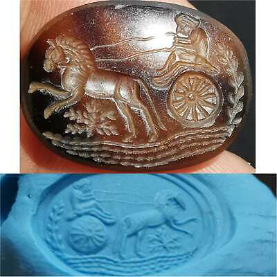 excellent Rare Old Agate stone Roman King Seal Stone Stamp  # 35