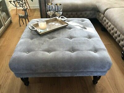 ⭐ Now  Large  Footstool Buttoned  Velvet Grey Free Delivery