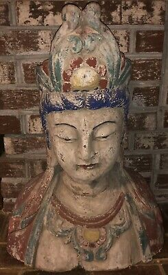 """28"""" High Chinese Polychrome Middle Qing Dynasty Carved Wood Bust Of Guanyin"""