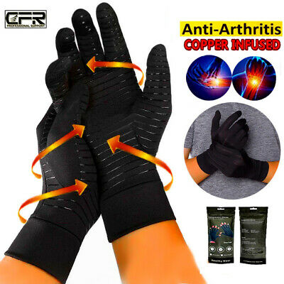 Copper Anti Arthritis Gloves Hand Wrist Support Finger Compression Pain Relief G