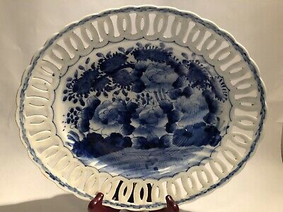 Antique Chinese Export Pierced Reticulated Floral Blue & White Platter