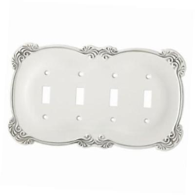 Quad Switch Plate White Arboresque Franklin Brass 144390