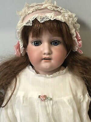 """Antique German Armand Marseille 23"""" Doll Bisque Head Leather Body Marked 370"""