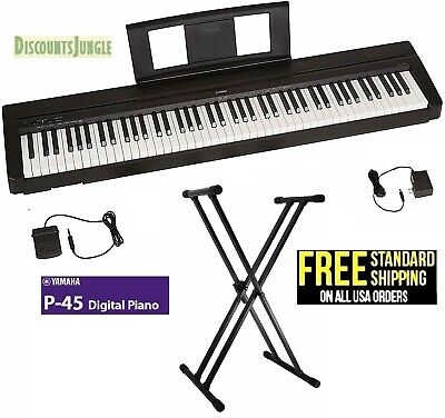 Yamaha P45-B 88-Key Weighted Action Digital Piano With Stand+ Pedal + Adapter