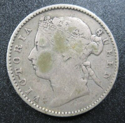 Straits Settlements British 10 Cent 1884 Silver Malaysia Singapore 60# Coin