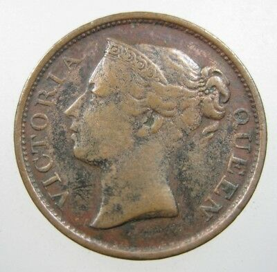 Straits Settlements 1/2 Cent 1845 Malaysia Singapore British 60# Money Coin