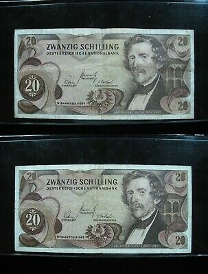 Austria 20 Schilling 1967 Pair 96# World Currency Bank Money Banknote