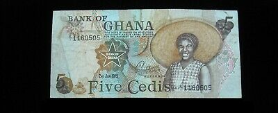 Ghana 5 Cedis 1975 Circ 505# Currency Bank Money Banknote