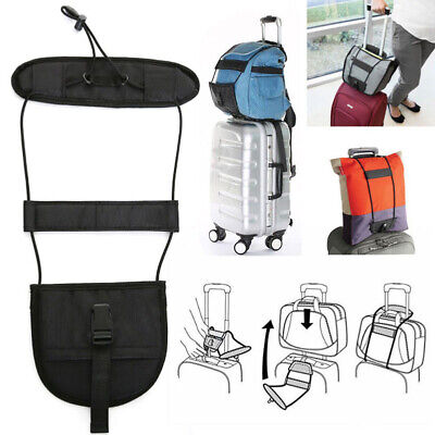 Black Add A Bag Strap Luggage Suitcase Adjustable Belt Carry On Bungee Travel G