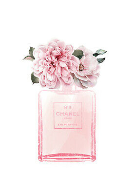 Chanel Perfume Bottle Pink Roses Flowers Watercolour Canvas Print A3
