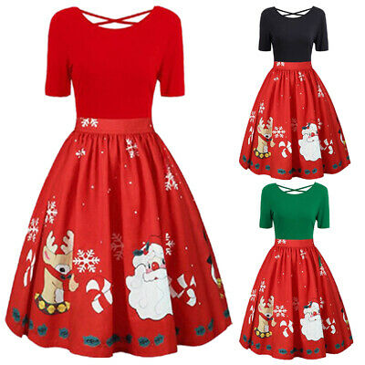 AU Plus Size Christmas Women Clothes Dress Midi Swing Party Dress Xmas Dresses