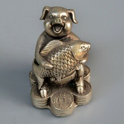 Collect Old Tibet Silver Hand-Carved Pig Embrace Fish Bring Riches Decor Statue