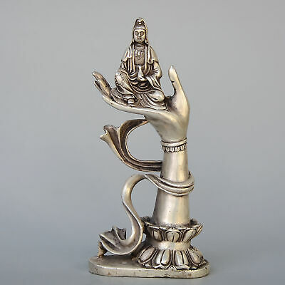 Collectable Antique Miao Silver Hand-Carved Buddha Hand Kwan-yin Buddhism Statue