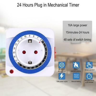 24 Hours Mechanical Timer Socket Switch Electrica Wall Outlet Home Timer AC H9B8