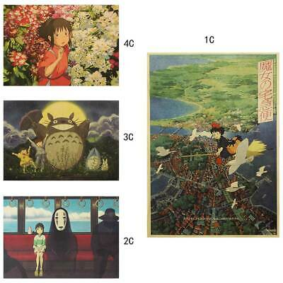 Spirited Away Poster Retro Comic Anime Kraft Paper Bar Cafe Home Room Decor AU