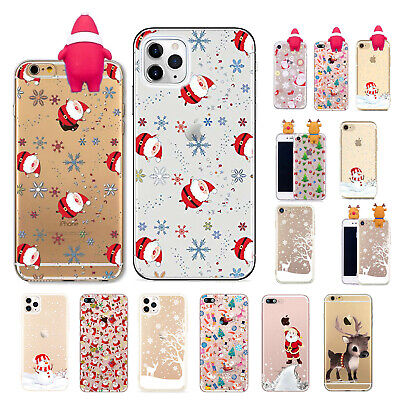 Christmas Clear Case for iPhone XR 7 Plus 8 6 5 SE XS Max 11 Soft TPU Cover Xmas