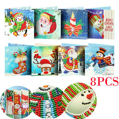 8PCS DIY Special Shaped Diamond Painting Embroidery Christmas Greeting Card Gift