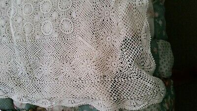 Crochet Large White  Table Cloth / Bed Throw (007071) Ref 8