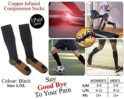 Copper Infused Compression Socks Varicose Vein Stocking Knee High Relief Black