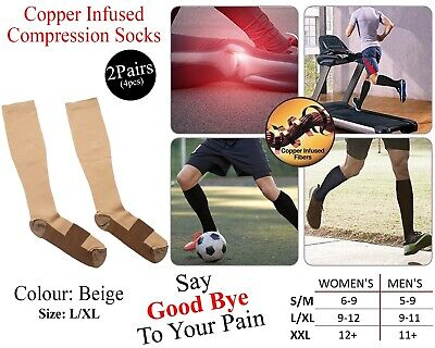 2x Copper Infused Compression Socks Varicose Knee Stocking Relief High Beige