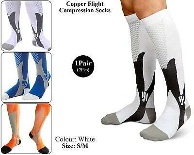 Copper Infused Compression Socks Flight Travel Knee Varicose Vein Stocking White