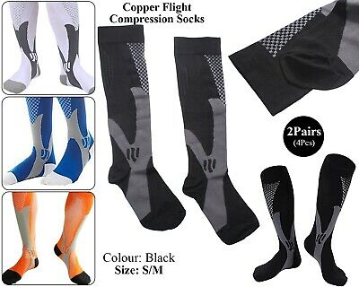 2 x Copper Infused Compression Socks Flight Travel Knee Varicose Stocking Black