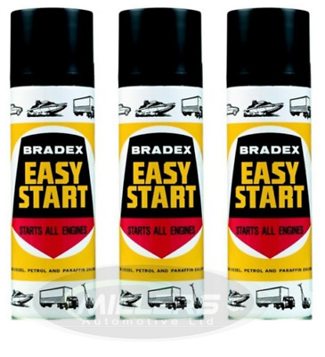 3X Holts Bradex Easy Start For Petrol & Diesel Engines Cold Starting Spray 300ML