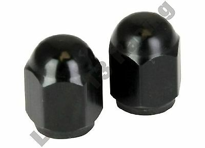 BikeIt black tyre hexagonal alloy air valve caps pair for motorcycles & scooters
