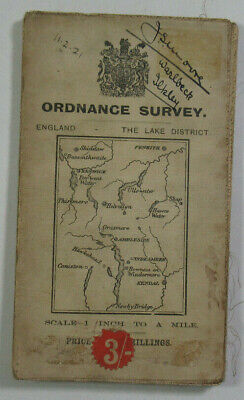 1912 Old Antique OS Ordnance Survey One-inch Third Edition Map The Lake District