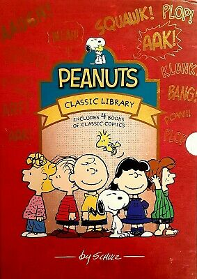 PEANUTS SHULZ Book 4 Volume Box Set Snoopy Charlie Brown Comics Hardcover