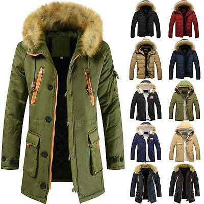 Mens Faux Fur Hooded Coat Winter Hoodie Puffer Quilted Parka Jacket Outwear Warm