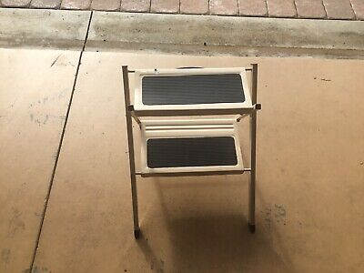 "Vintage Metal 2-Step Stepstool Folding Ladder Top Step 15"" Tall Made In Taiwan"