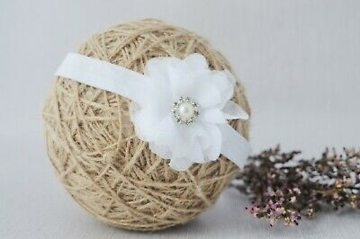 Baby flower headband for christening baptism wedding chiffon white hair band