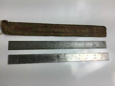 THE L.S. STARRETT CO. No.4R Grad & C607R U.S.A. 12 inch Ruler Slotted