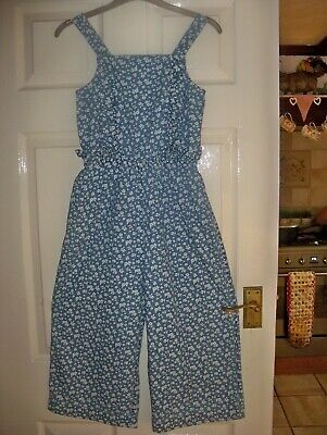 Girls Play Suit Blue&White Floral Age 9-10 Years By M&S Kids Good Con.