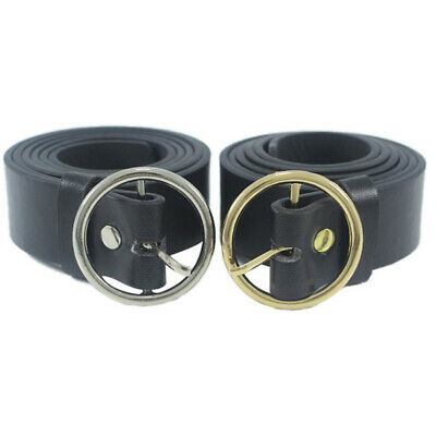 Metal Circle All-Match PU Leather Fashion Waistband Belt Round Pin Buckle