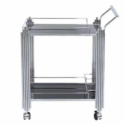 Chrome Silver Drinks Hostess Portable Push Trolley Black Glass Trays