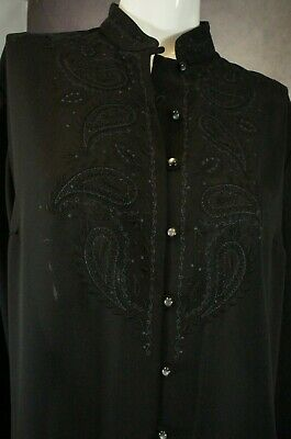 Ladies St Michael M&S Black Sheer Paisley Embroidered Blouse Size 16