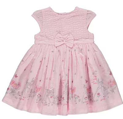 Disney Baby Girls Bambi Thumper Pink Pleated Dress 0 to 6 Months BNWT