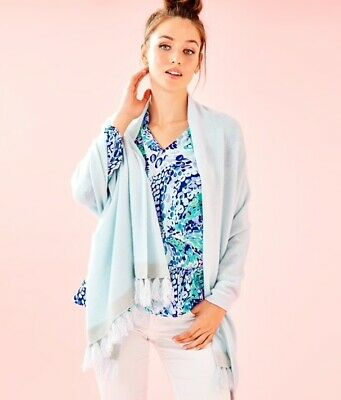 Lilly Pulitzer Take me Away Cashmere Wrap Whisper Blue