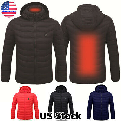 Women Men Electric USB Heated Heating Hoodie Jacket Winter Warm Outwear Coat Top
