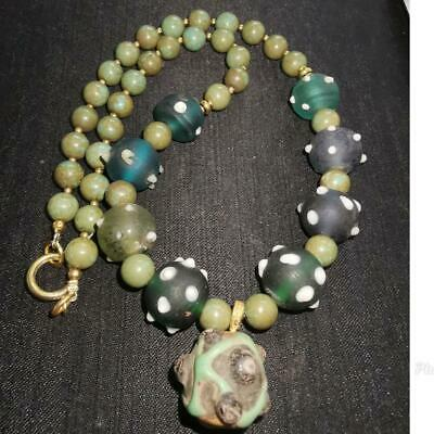 Old Unique Turquoise Stone & Glass Beads Wonderful Necklace