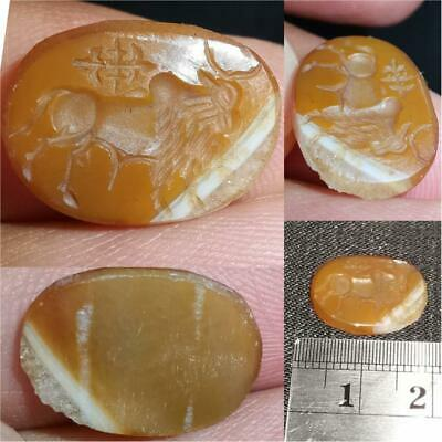 Agate stone Ancient Roman Cow Seal intaglio Lovely Cabochon # 36