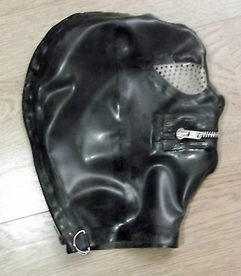 Latex Rubber Fitted Hood BLACK Rear zip - ZIP Mouth  Pepper Pot Eyes & Nose S-XL