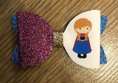 Disney Princess Anna Inspired Girls Glitter Hair Bow
