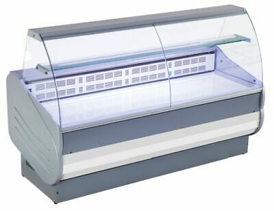 Refrigerated Counter, Curved Tempered Glass, Lacquered Stahlblech-Ablage,