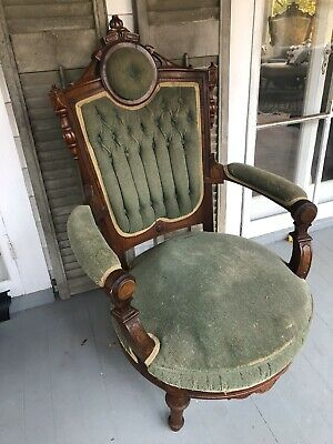 Eastlake Victorian 1800's Walnut Tufted Armchair Delivery Available