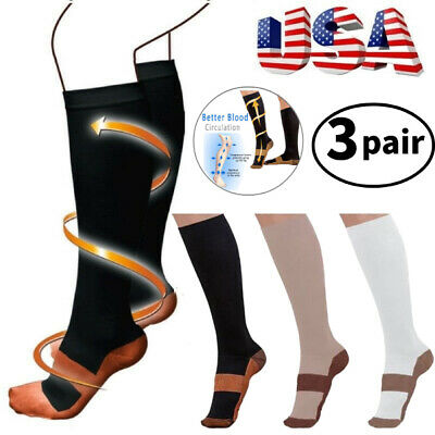 (3 Pairs) Copper Infused Compression Socks 20-30mmHg Graduated Support Men Women